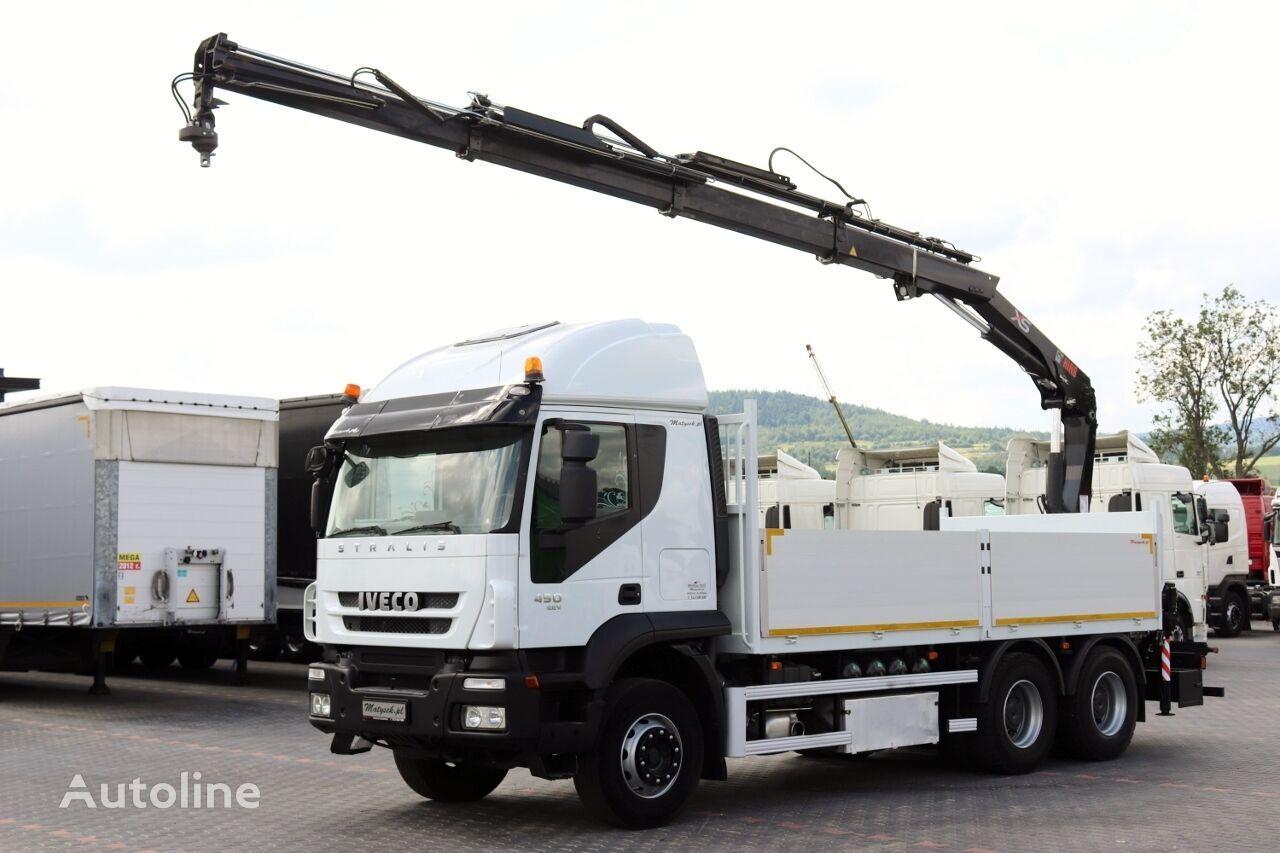 бордови камион IVECO STRALIS 450 / 6X4 / PLATFORMA + MACARA HIAB 166 / RADIO COMMANDE