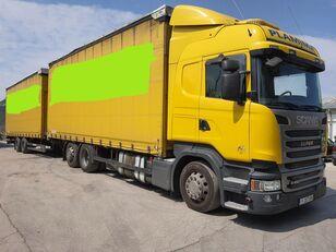 брезентов камион SCANIA R450 + ремарке със завеси