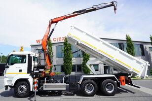 камион самосвал MAN TGS 26.360 , E5 , 6X4 ,3 way tipper , bordmatic , Crane Fassi F1