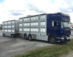 камион за превоз на животни SCANIA R620 V8 For animal transport - do zywca + ремарке за превоз на животни