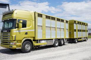 камион за превоз на животни SCANIA R164 V8 , 6x2 , 2 hydraulic decks , 70m2 , live stock + ремарке за превоз на животни