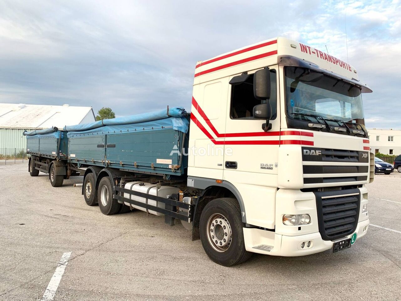 камион зърновоз DAF XF105.460 3-Seiten GETREIDEKIPPER + 2 Achs Kipp-Anhänger + ремарке за превоз на зърно