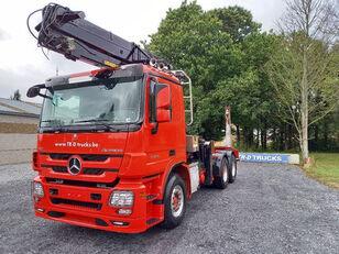 транспорт на дървесина MERCEDES-BENZ Actros 3360 -6x4-hiab crane-steel suspension-alcoa