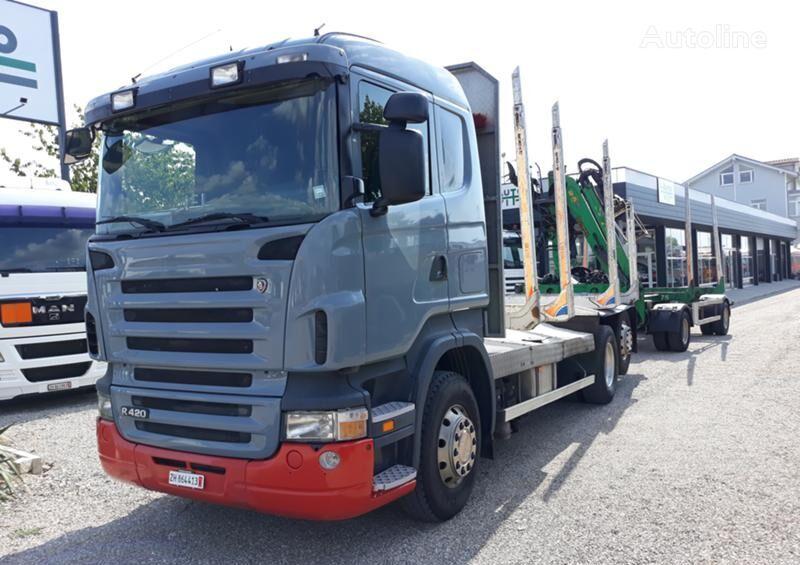 транспорт на дървесина SCANIA R 420 + ремарке транспорт на дървесина