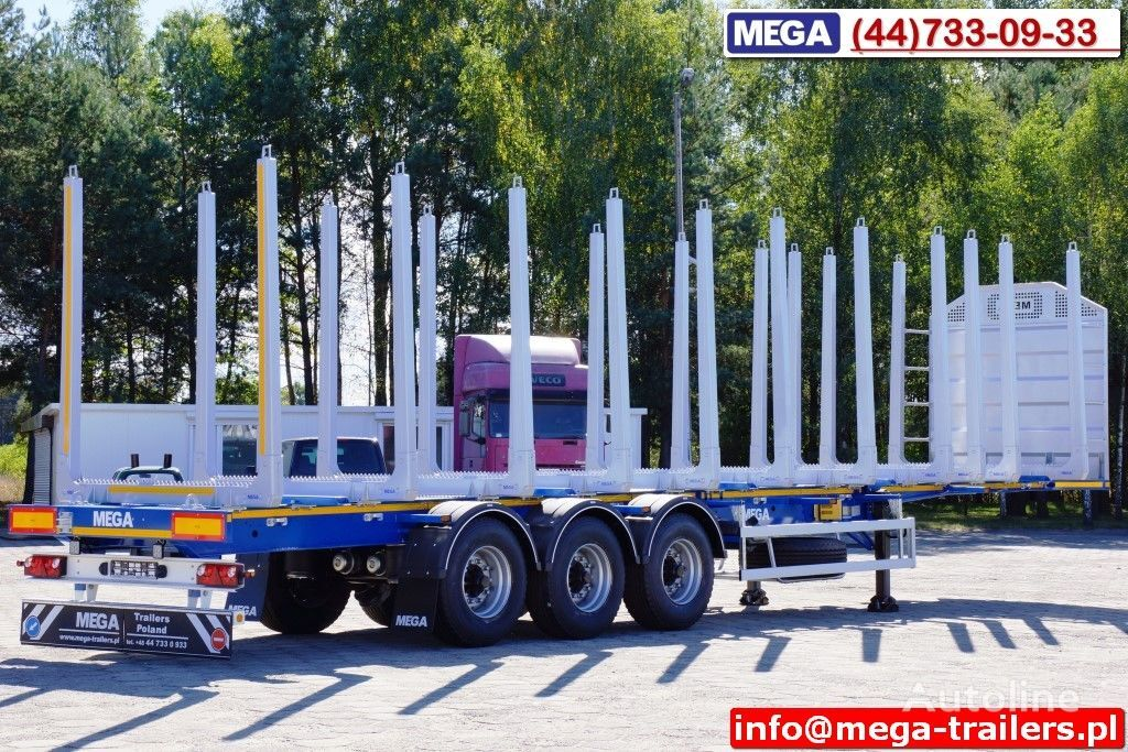 нов полуремарке транспорт на дървесина MEGA 10 U STANCHION - TIMBER SEMI-TRAILER/HOLZAUFLIEGER- READY ! BERE